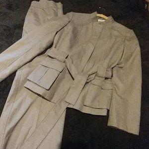 Calvin klein belted pants suit set size 10 Gray
